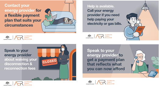 5 images for use on social media. Each provides a way to get help with your energy bill if impacted by COVID-19.